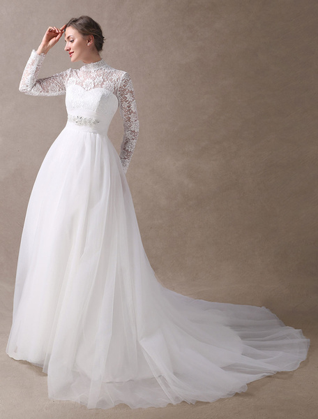 Milanoo Gown Vintage Bridal Dress Lace Long Sleeve Beaded Sash High Collar Cutoff Illusion Retro Wedding Gowns With Train