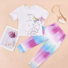 Toddler Girls Cartoon Graphic Ruffle Tee & Ombre Sweatpants