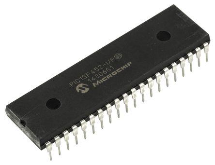 Microchip PIC18F452-I/P, 8bit PIC Microcontroller, PIC18F, 40MHz, 32 kB Flash, 40-Pin PDIP (10)