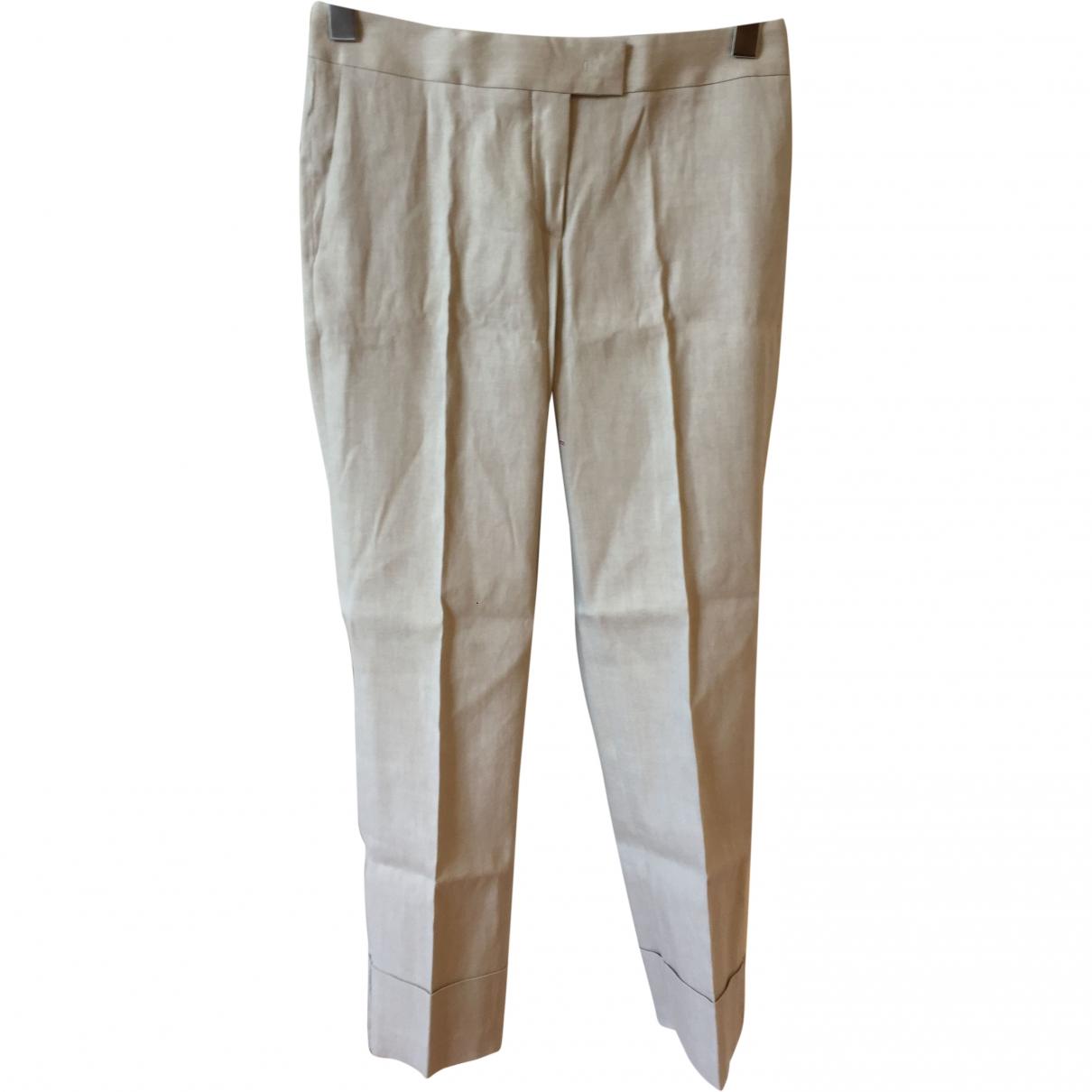 Fabiana Filippi \N Beige Linen Trousers for Women 38 IT