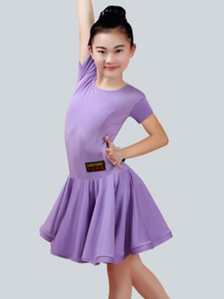 Milanoo Dance Costumes Latin Dancer Dresses Kids Orange Short Sleeve Little Girls Ballroom Dancing Halloween