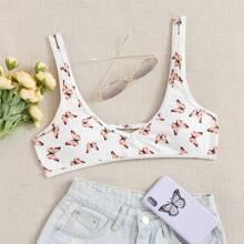 Top bikini de canale con estampado de mariposa