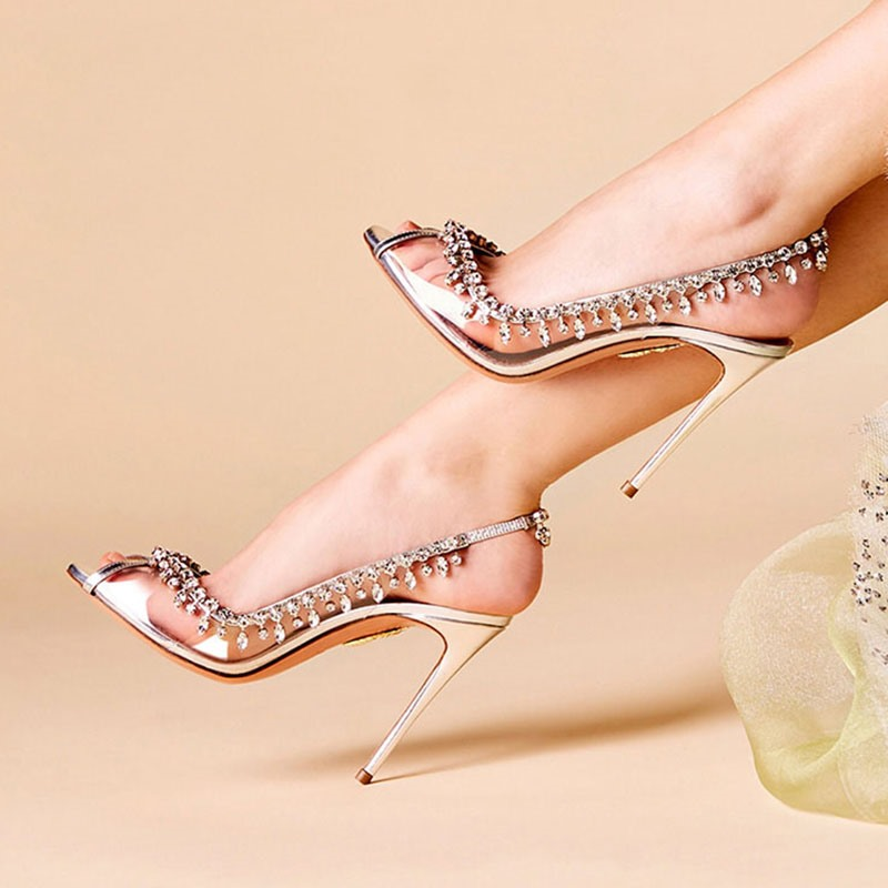 Ericdress Slingback Strap Peep Toe Stiletto Heel Rhinestone Sandals