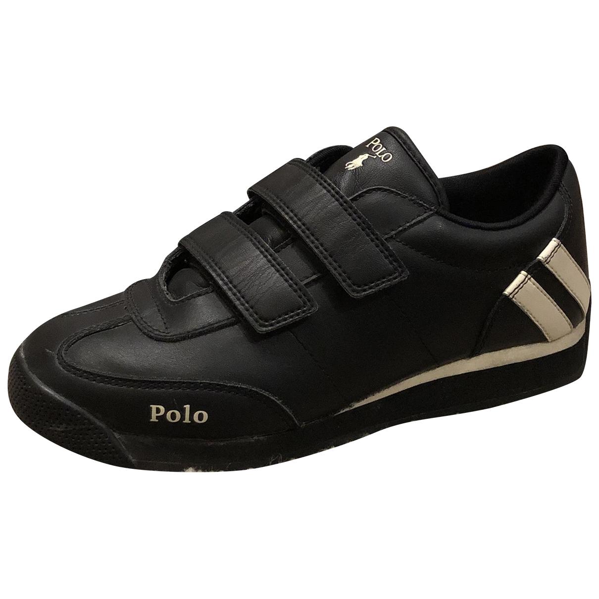 Polo Ralph Lauren - Baskets   pour femme en cuir - noir