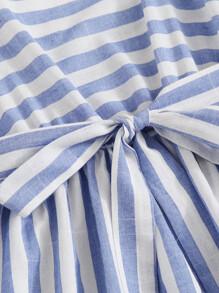 Shirred Back Self Belted Striped Cami Dress