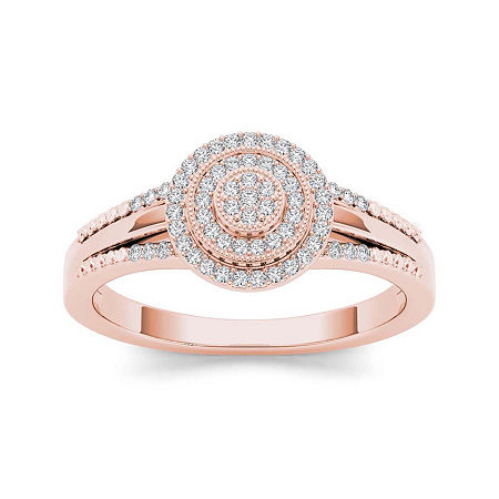 1/6 CT. T.W. Diamond 10K Rose Gold Engagement Ring, 7 1/2 , No Color Family