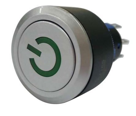 RS PRO Double Pole Double Throw (DPDT) Momentary Green LED Push Button Switch, IP65, 22.2 (Dia.)mm, Panel Mount, Power (20)