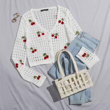 Strick Jacke mit Kirschen Stickereien und Knopfen vorn ohne BH