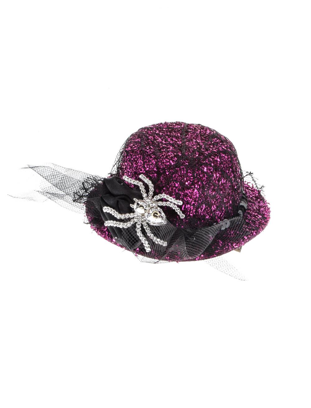 Kostuemzubehor Mini Hut Spinne mit Haarclip silber/pink