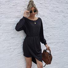 Sweatshirt Kleid mit Wickel Design und asymmetrischem Saum
