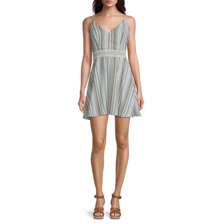 Speechless-Juniors Sleeveless Striped Fit & Flare Dress, Medium , Green