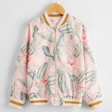 Jacke mit tropischem Muster