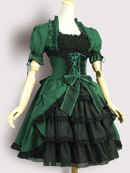 Milanoo Classic Lolita Dress OP Vintage Victorian Olive Lolita One Piece Dress