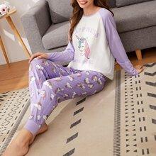 Conjunto de pijama camiseta con estampado de letra y unicornio con pantalones