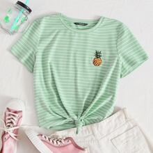 Camisetas Bordado A rayas Menta Verde Casual