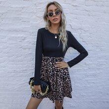 Vestido de leopardo de color combinado con bolsillo