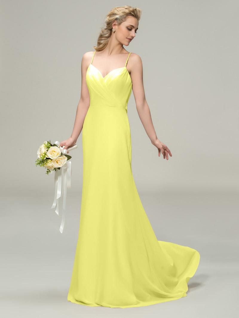 Ericdress Spaghetti Straps Draped Long Bridesmaid Dress