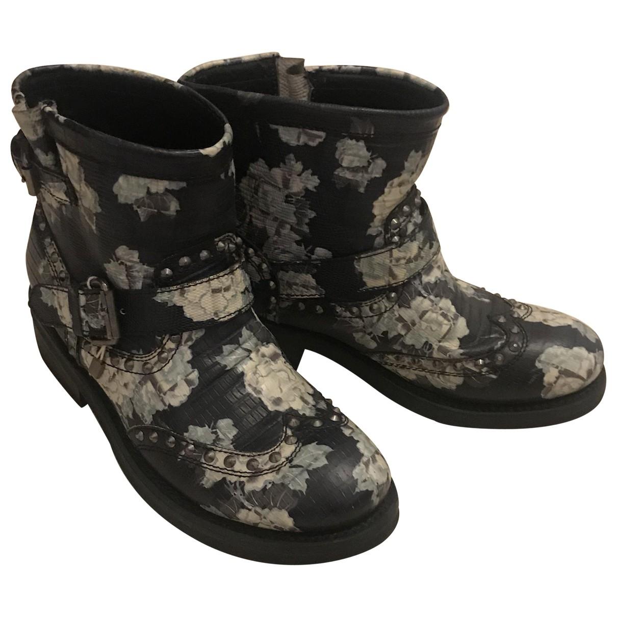 Ash - Boots   pour femme en cuir - bleu