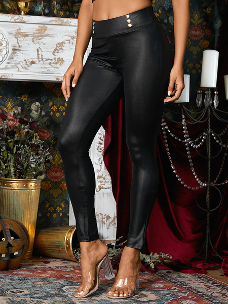Yoins Black Double Breasted Design Faux Leather Pants