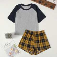 Raglan Sleeve Tee & Plaid Shorts PJ Set