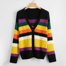 Plus Rainbow Striped Button Up Cardigan