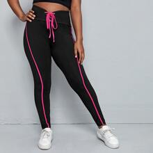 Leggings mit Band, breitem Taillenband und Kontrast Paspel