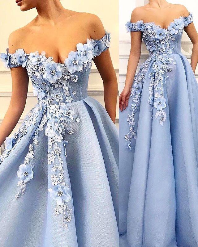Blaues Abendkleid | Elegante Abendkleider Lang V Ausschnitt