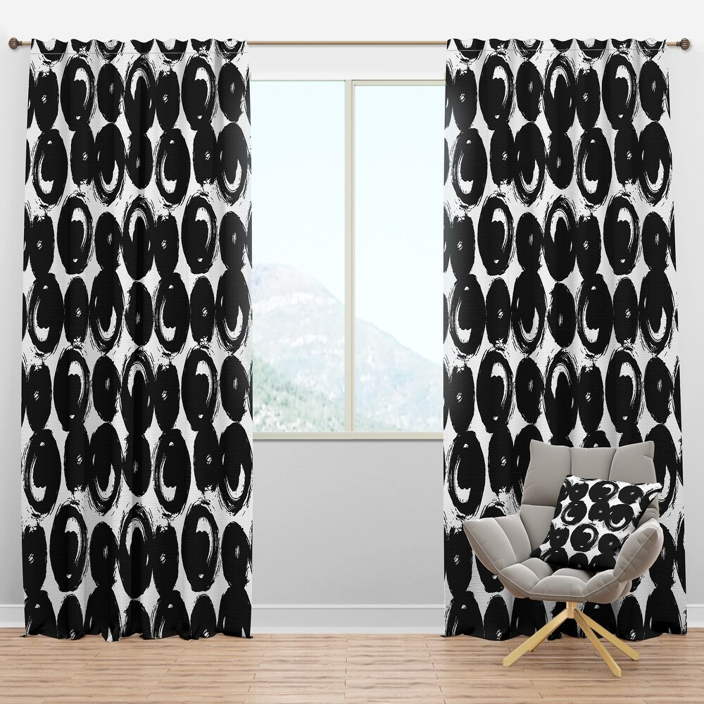 Designart 'Hand Painted Black Circles on White' Modern & Contemporary Curtain Panel (50 in. wide x 108 in. high - 1 Panel)