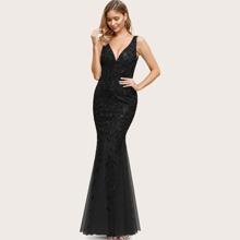Godet Fishtail Hem Sequin Mesh Prom Dress