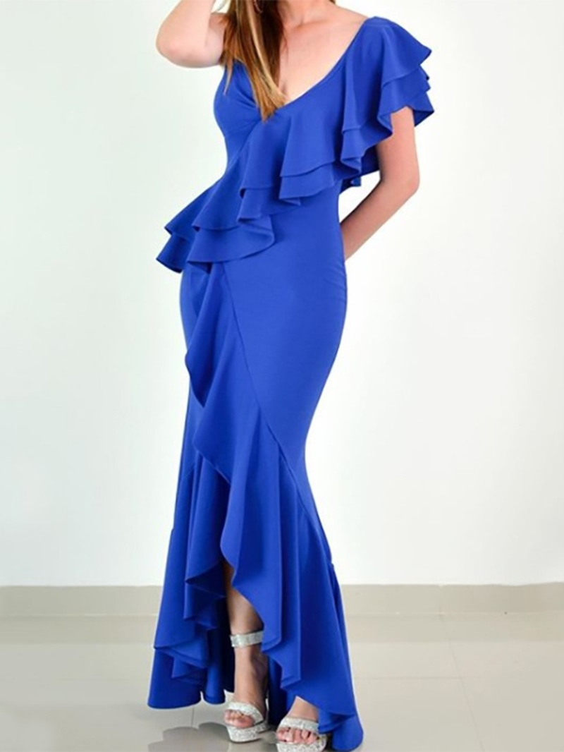 Ericdress Short Sleeves Mermaid Asymmetry V-Neck Evening Dress
