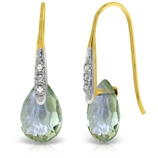 14K Solid Gold Fish Hook Earrings w/ Diamonds & Green Amethyst (Yellow)