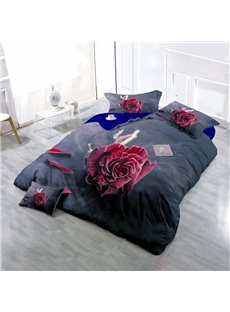Dry Red Rose Wear-resistant Breathable High Quality 60s Cotton 4-Piece 3D Bedding Sets