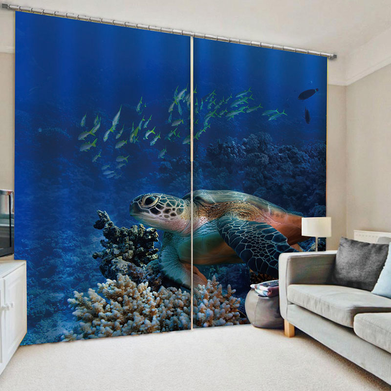 3D Undersea World Sea turtles Decoration Blackout 2 Panels Curtain Drapes for Living Room No Pilling No Fading No off-lining