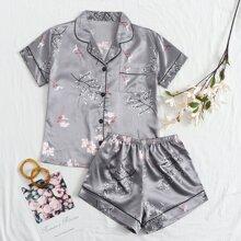 Satin Schlafanzug Set mit Blumen & Pflanzen Muster