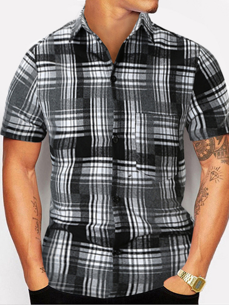 Yoins Men Summer Fashion Black And White Plaid Casual Shirt