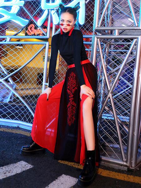 Milanoo Trajes de baile de jazz Falda superior de estilo chino Ropa de baile