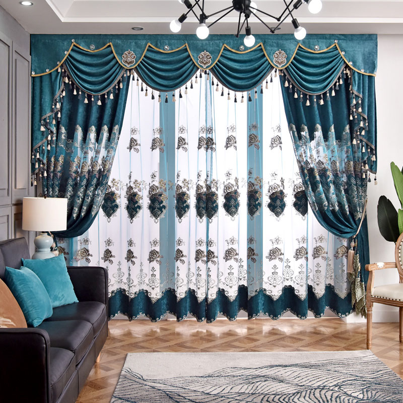 Luxury Floral Embroidery Decoration Sheer Curtains for Living Room Custom 2 Panels Breathable Drapes No Pilling No Fading No off-lining