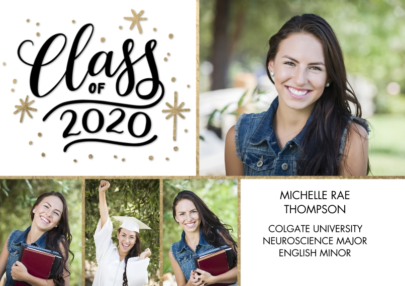 2020 Graduation Announcements 5x7 Cards, Premium Cardstock 120lb with Elegant Corners, Card & Stationery -2020 Class of Gold Stars by Tumbalina
