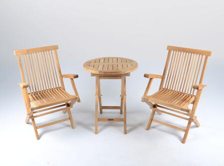 Jakarta Collection TK-3PC-F 3-Piece Folding Bistro Set with 2 Chairs and 1 Bistro Table  Teak Construction  Foldable  Mortise and Tenon