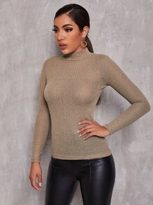 Rolled Neck Rib-knit Tee