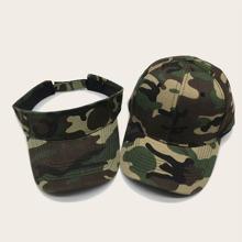 2pcs Men Camo Pattern Baseball Cap & Visor Hat