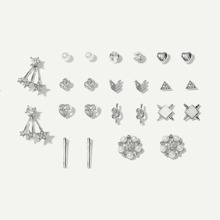 Heart & Star Stud Earrings 12pairs