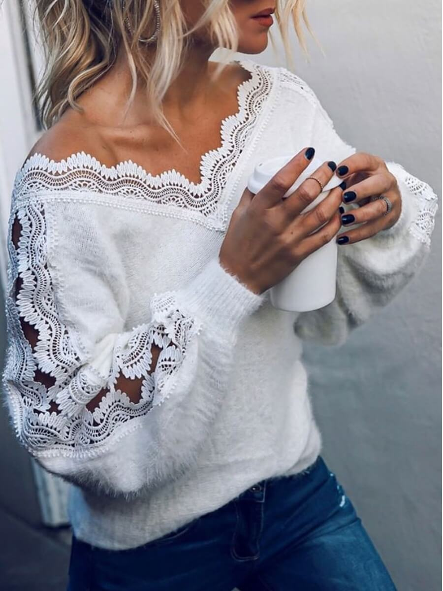 LW Lovely Stylish V Neck Lace Patchwork White Sweater