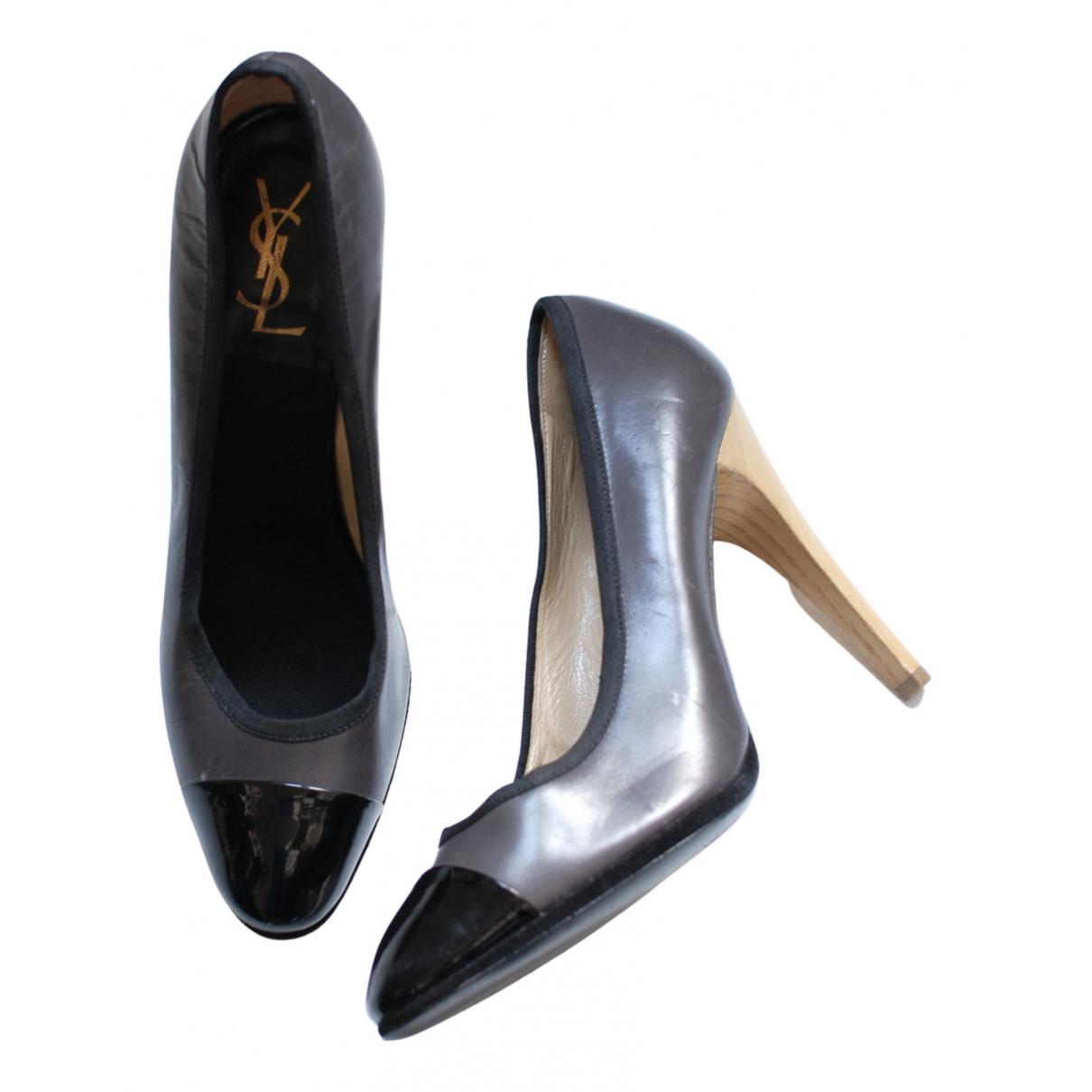Yves Saint Laurent N Grey Leather Heels for Women 39 EU