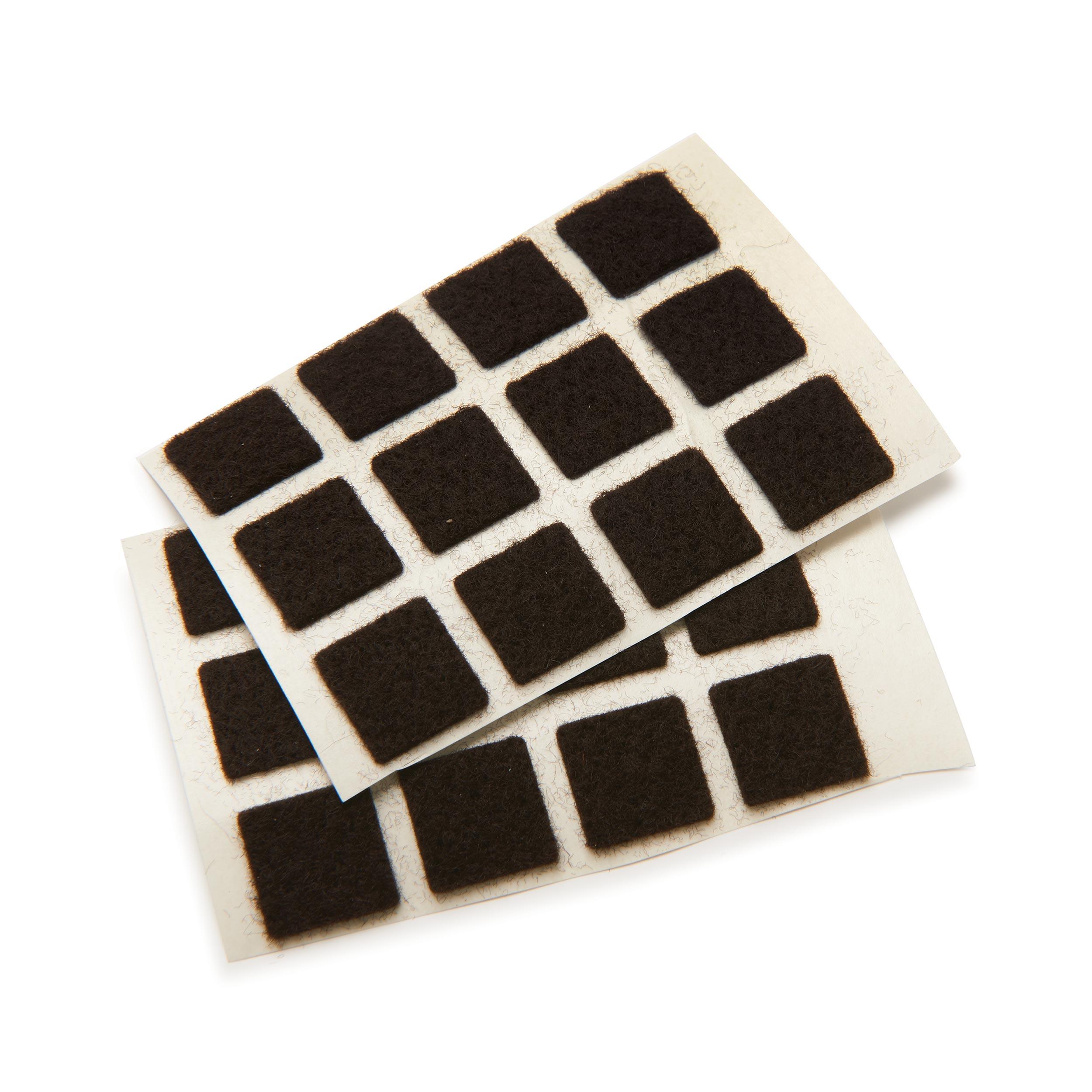 Felt Square, Self-Adhesive, Black 1/2