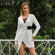Double Crazy vestido bajo asimetrico con botones sin linea