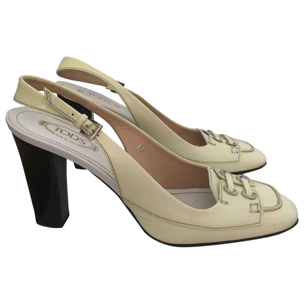 Tod's \N Ecru Leather Sandals for Women 37.5 EU