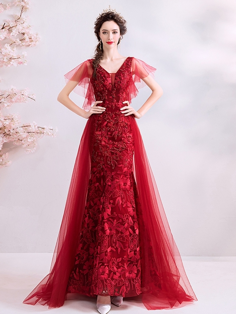 Ericdress Straps Lace Floor-Length Mermaid Evening Dress