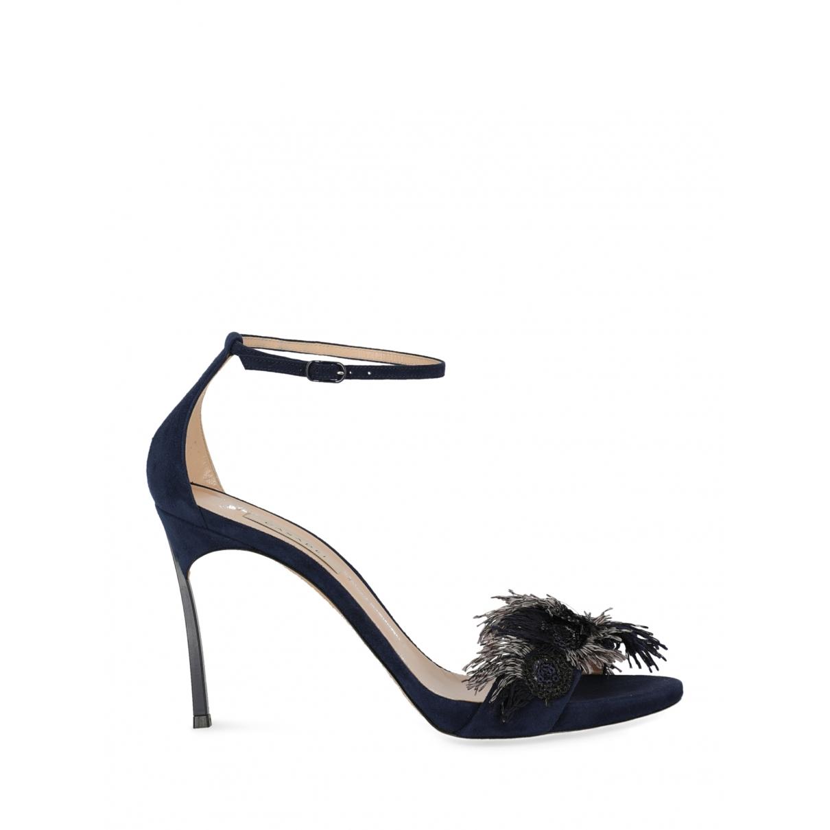Casadei - Sandales   pour femme en suede - bleu