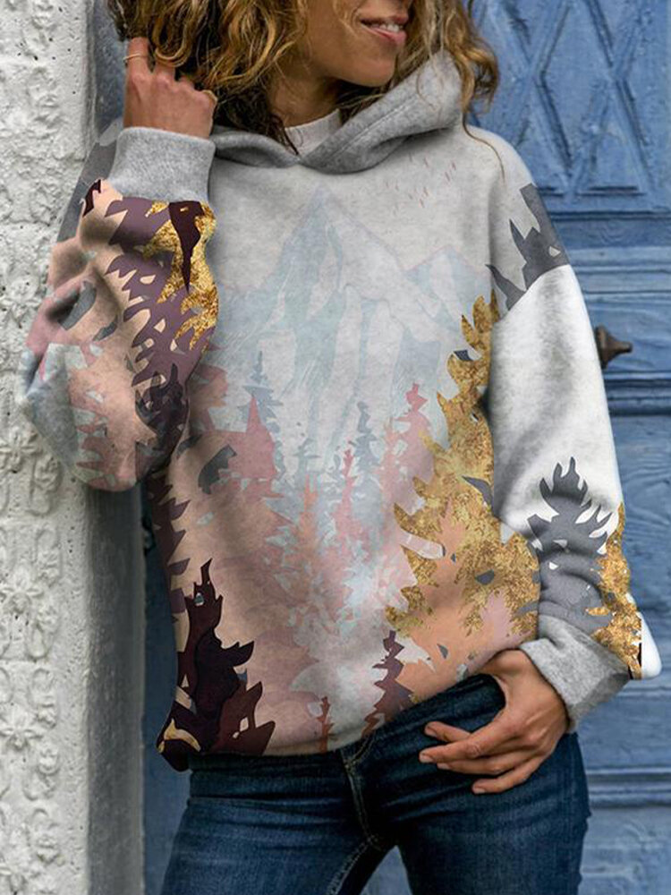 Trees Landscape Print Long Sleeve Casual Hoodie For Women